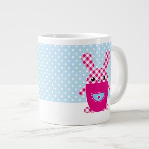 Kawaii checkered rabbit 20 oz large ceramic coffee mug