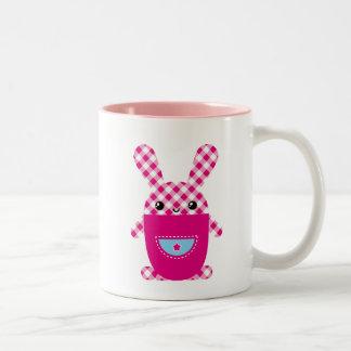 Kawaii checkered rabbit Two-Tone coffee mug