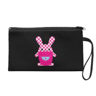 Kawaii checkered rabbit wristlet purse