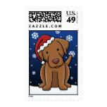 Kawaii Chesapeake Bay Retriever Christmas Postage Stamps