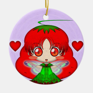 Kawaii Chibi Tomato Fairy Transparent Ceramic Ornament