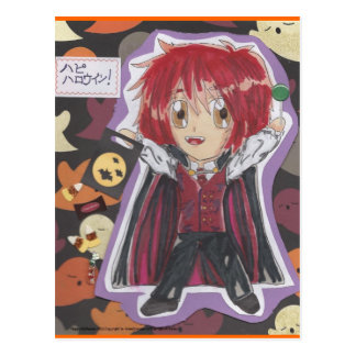 Kawaii Chibi Vampire Lyle Halloween Postcard