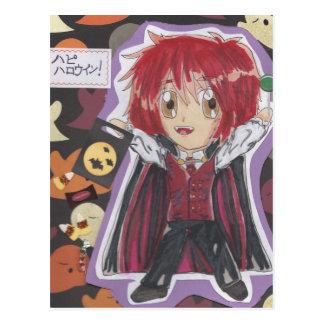 Kawaii Chibi Vampire Lyle Halloween Postcard-redo