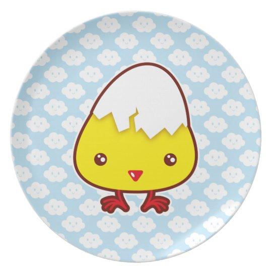 Kawaii chick melamine plate