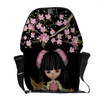 Kawaii China Doll Love Symbol Cherry Blossoms Messenger Bag