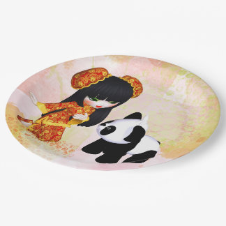 Kawaii China Girl 9 Inch Paper Plate