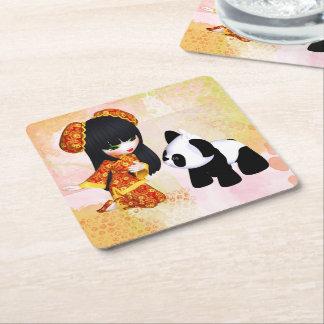 Kawaii China Girl Square Paper Coaster