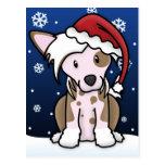 Kawaii Chinese Crested Christmas Postcard