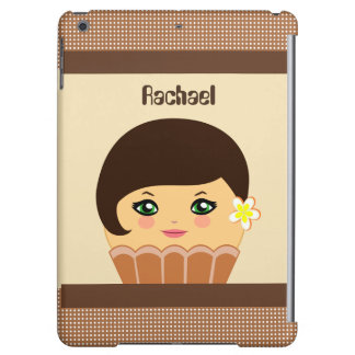 Kawaii Chocolate Brown Cute Cupcake Character Case For iPad Air