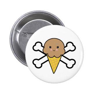 kawaii chocolate ice cream cone crossbones pinback button