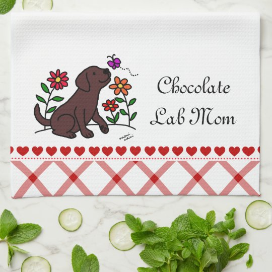 Kawaii Chocolate Labrador Cartoon Kitchen Towel