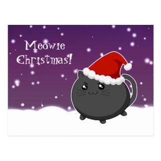 Kawaii christmas black kitty cat postcard