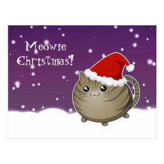 Kawaii christmas brown tabby kitty cat postcard