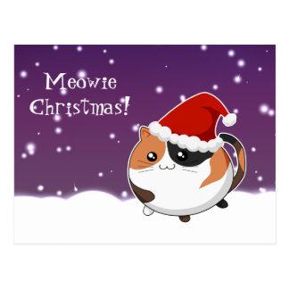 Kawaii christmas calico kitty cat postcard