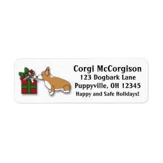 Kawaii Christmas Corgi Puppy Gift Address Labels