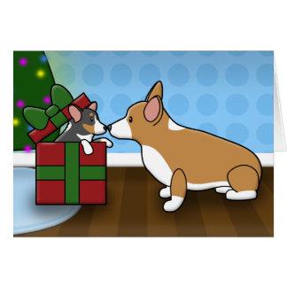 Kawaii Christmas Corgi Puppy Gift Card