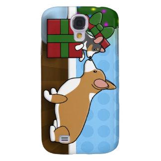 Kawaii Christmas Corgi Puppy Gift Samsung Galaxy S4 Cover