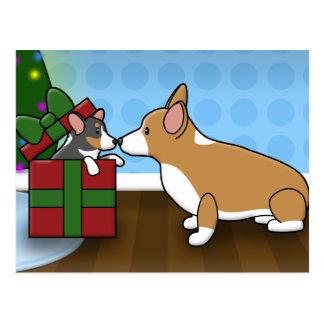 Kawaii Christmas Corgi Puppy Gift Postcard