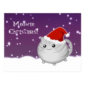 Kawaii christmas gray tabby kitty cat postcard