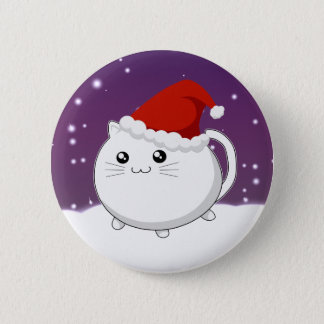 Kawaii christmas kitty cat button