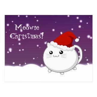 Kawaii christmas kitty cat postcard