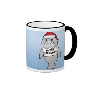 Kawaii Christmas Manatee Ringer Coffee Mug