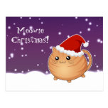 Kawaii christmas orange tabby kitty cat post card