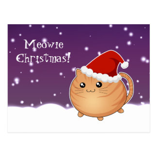 Kawaii christmas orange tabby kitty cat postcard