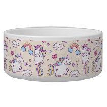 Kawaii chubby flying unicorns rainbow pattern bowl