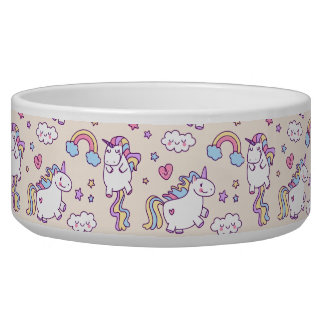 Kawaii chubby flying unicorns rainbow pattern bowl