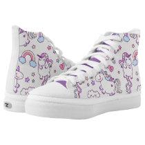 Kawaii chubby flying unicorns rainbow pattern High-Top sneakers