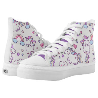 Kawaii chubby flying unicorns rainbow pattern High-Top sneakers