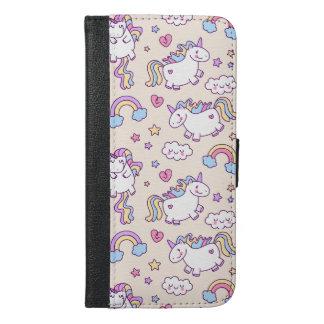 Kawaii chubby flying unicorns rainbow pattern iPhone 6/6s plus wallet case