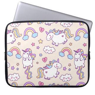 Kawaii chubby flying unicorns rainbow pattern laptop computer sleeves