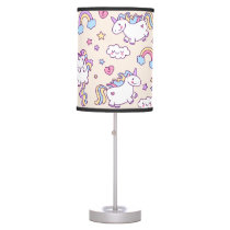 Kawaii chubby flying unicorns rainbow pattern table lamp