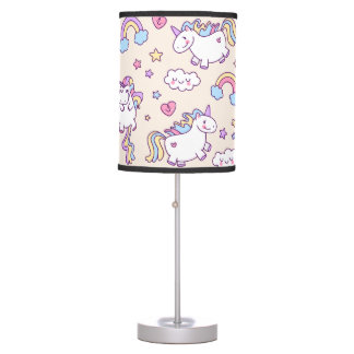 Kawaii chubby flying unicorns rainbow pattern table lamp