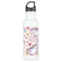 Kawaii chubby flying unicorns rainbow pattern water bottle