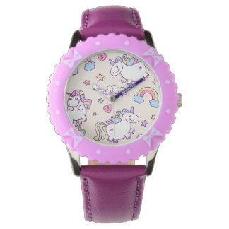 Kawaii chubby flying unicorns rainbow pattern wristwatch