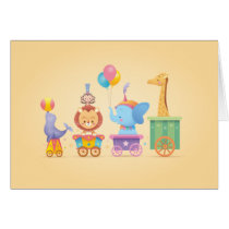 Kawaii Circus Train Card