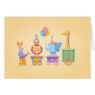 Kawaii Circus Train Greeting Card