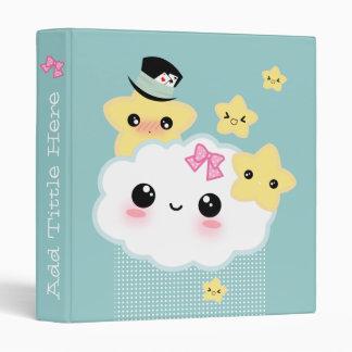 Kawaii cloud and cute stars 3 ring binder