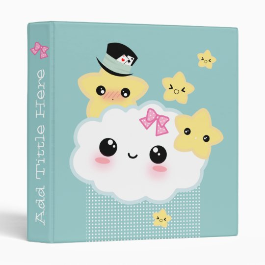 Kawaii cloud and cute stars 3 ring binder