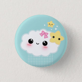 Kawaii cloud and cute stars pinback button