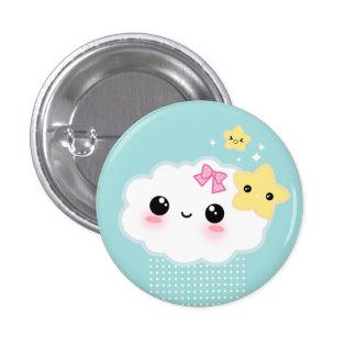 Kawaii cloud and cute stars pinback button