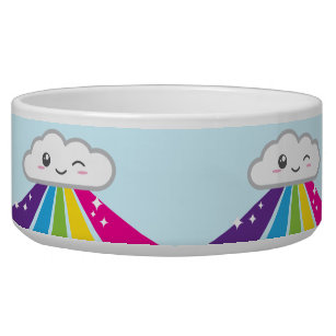 Kawaii Cloud and Rainbow Dog Bowl