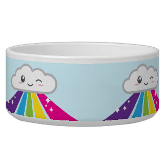 Kawaii Cloud and Rainbow Dog Bowl