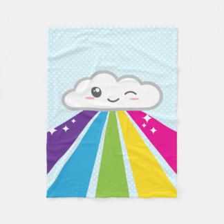 Kawaii Cloud and Rainbow Fleece Blanket