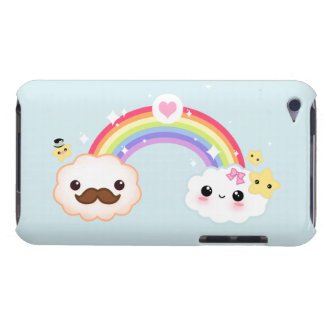 Kawaii cloud couple with rainbow and stars barely there iPod covers