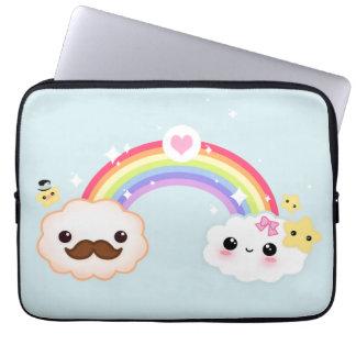 Kawaii cloud couple with rainbow and stars computer sleeve