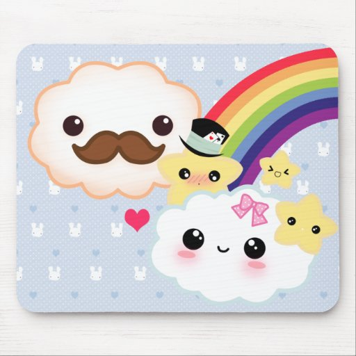 Kawaii cloud couple with rainbow and stars mouse pad